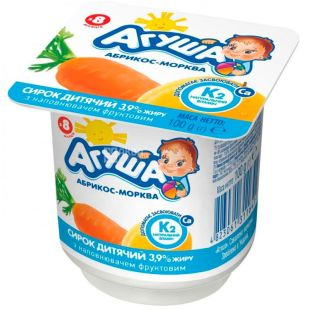 Agusha, 100 g, Cottage cheese for children, Apricot-carrot, from 8 months, 3.9%