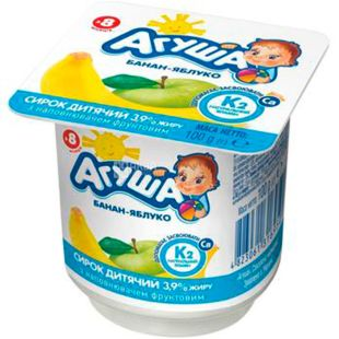 Agusha, 100 g, Cottage cheese for children, Banana-apple, from 8 months, 3.9%