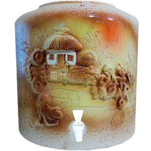 Диспенсер керамический для воды Домик, Лепка