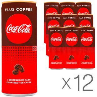 Coca-Cola Zero Coffee, 0,25 л, Напиток Кока-Кола Зеро Кофе, сильногазированный, ж/б, 12 шт. в упаковке