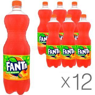 Fanta, Манго Гуава, упаковка 12 шт., по 1 л, Фанта, Вода сладкая с натуральным соком