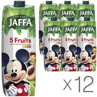 Jaffa 5 Fruits, упаковка 12 шт., По 0,95 л, Джаффа, Нектар натуральний 5 фруктів, Міккі Маус
