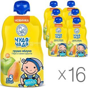Чудо-Чадо, упаковка 16 шт., по 90 г, Пюре Яблоко-Груша, без сахара