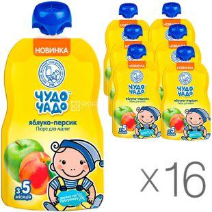 Чудо-Чадо, упаковка 16 шт., по 90 г, Пюре Яблоко-Персик, с сахаром