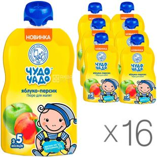 Miracle Child, 90 g, Apple-Peach Puree, with sugar, 16 PCs. per pack