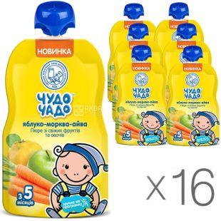 Чудо-Чадо, упаковка 16 шт., по 90 г, Пюре Яблоко-Морковь-Айва, с сахаром