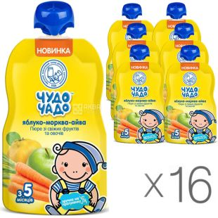 Miracle Child, 90 g, Apple-Carrot-Quince Puree, with sugar, 16 PCs. per pack