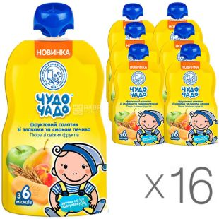 Miracle Child, 90 g, mashed Fruit salad, with cereals and taste of cookies, without sugar, 16 PCs. per pack