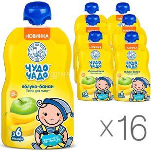 Чудо-Чадо, упаковка 16 шт., по 90 г, Пюре Яблоко-Банан, без сахара