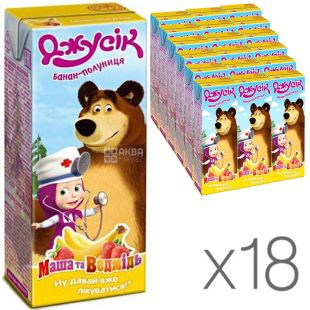Джусик, Маша и Медведь, упаковка 18 шт., по 0,2 л, Нектар Бананово-клубничный
