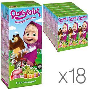Джусик, Маша и Медведь, упаковка 18 шт., по 0,2 л, Нектар Виноградно-яблочный