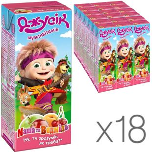 Jusik, 0.2 l, Masha and Bear Nectar, Multivitamin, 18 PCs. per pack