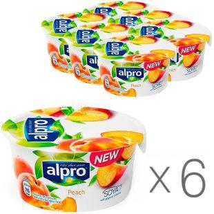 Alpro, Peach, упаковка 6 шт., По 150 г, Алпрем, Соєвий йогурт з персиком, 3%