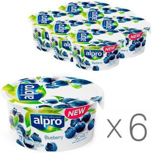 Alpro, Blueberry, упаковка 6 шт., по 150 г, Алпро, Соєвий йогурт з чорницею, 3%