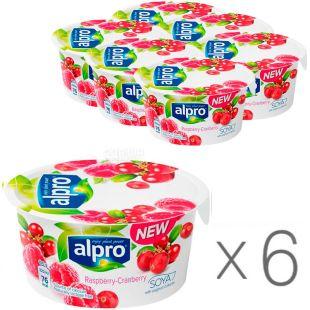 Alpro, Raspberry Cranberry, упаковка 6 шт., по 150 г, Алпро, Соєвий йогурт з малиною та журавлиною, 3%