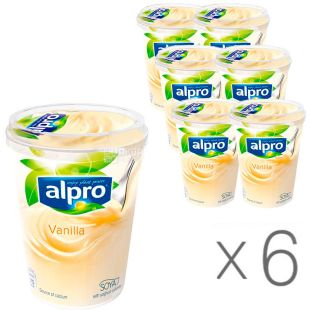 Alpro, Vanilla, pack of 6 pcs., 500 g each, Alpro, Soy Yogurt with Vanilla, 3%