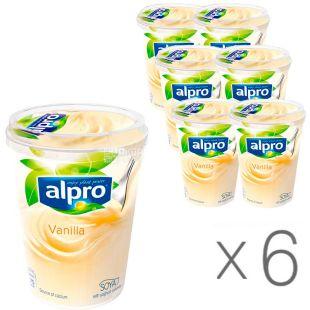 Alpro, Vanilla, упаковка 6 шт., по 500 г, Алпро, Соевый йогурт с ванилью, 3%