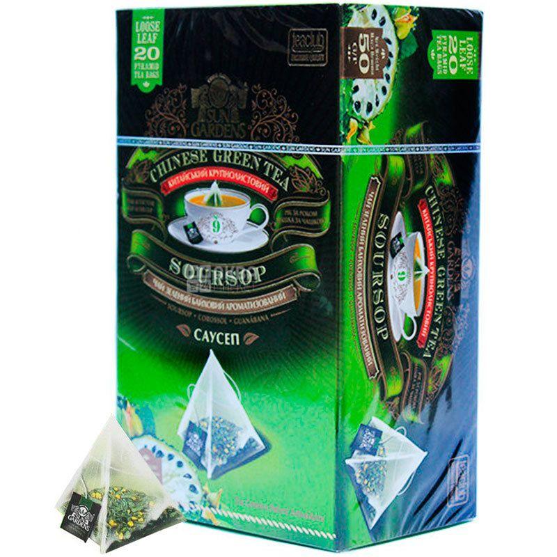 Sun Gardens, Soursop, 20 пак., Чай Сан Гарденс, Саусеп, зелений, крупнолистовий