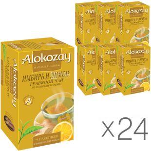 Alokozay, 25 пак, Чай травяной Алокозай, Имбирь и лимон, упаковка 24 шт.