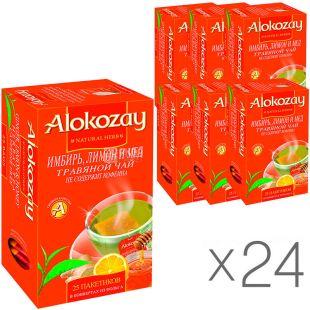 Alokozay, 25 пак, Чай травяной Алокозай, Имбирь, мёд и лимон, упаковка 24 шт.