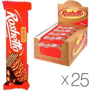 Roshen Roshetto, 32 g, Roshen Wafer Bar, Dark Chocolate, 25 pcs