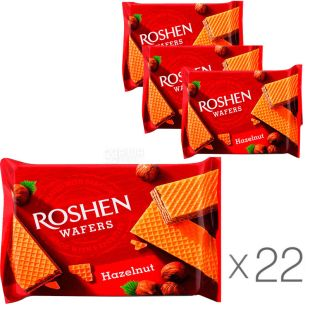 Roshen Wafers Hazelnut, 22 pcs., 72 g each, Waffles Roshen Wafers with nut filling