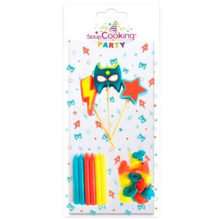 ScrapCooking, Party, ScrapCooking, Cake Candle Set, Super Hero, 15 pcs.