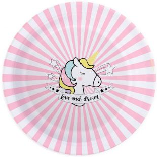 ScrapCooking, Party, 23 cm, ScrapCooking, Set of paper plates, Unicorn, 8 amount