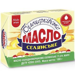 Белоцерковское Крестьянское, 180 г, Масло сладкосливочное, 72,6%
