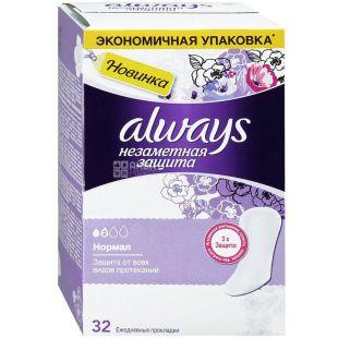 Always Normal Duo, 32 шт., Олвейз, Щоденні гігієнічні прокладки, 2 краплі, ароматизовані