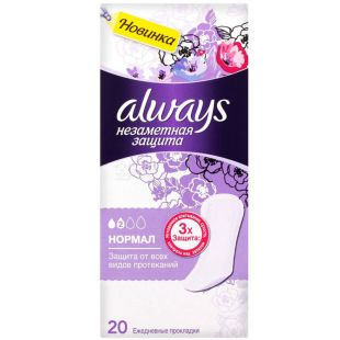 Always Normal Duo, 20 PCs., Daily sanitary pads, Allways Invisible protection, 2 drops, flavored