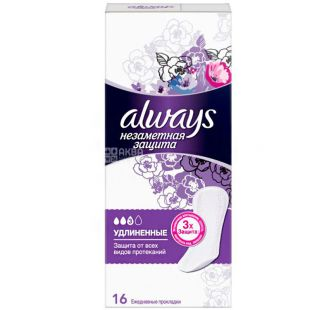 Always Large Sing, 16 PCs., Daily sanitary pads, Allways Invisible protection, extra long, 3 drops, flavored