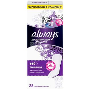 Always Large Duo, 28 PCs, Daily sanitary pads, Allways Invisible protection, extra long, 3 drops, flavored
