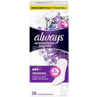 Always Large Duo, 28 шт., Олвейз, Щоденні гігієнічні прокладки, подовжені, 3 краплі, ароматизовані