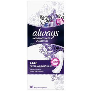 Always Single, 18 шт., Олвейз, Щоденні гігієнічні прокладки, екстра подовжені, 4 краплі, ароматизовані
