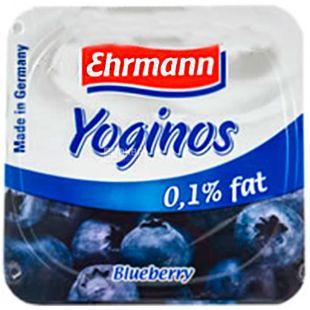 Ehrmann, 100 г, Ерман, Йогурт обезжиренный, Черника, 0,1%
