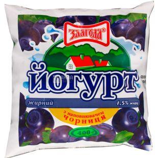Злагода, 400 г, Йогурт питьевой, Черника, 1,5 %