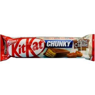 KitKat Chunky Salted Caramel, 42 г, КитКат, Батончик в молочном шоколаде с соленой карамелью