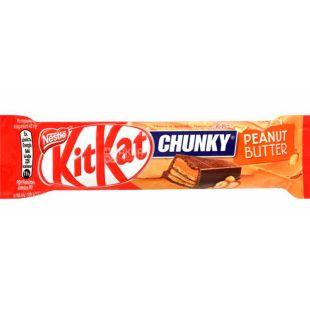 KitKat Chunky Peanut Butter, 42 г, КитКат, Батончик в молочном шоколаде с арахисовой пастой