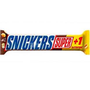 Snickers Super+1, 112,5 г, Сникерс, Батончик шоколадный