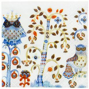 Littala, Taika, 20 шт., Литтала, Салфетка бумажная белая, с рисунком, 33х33 см