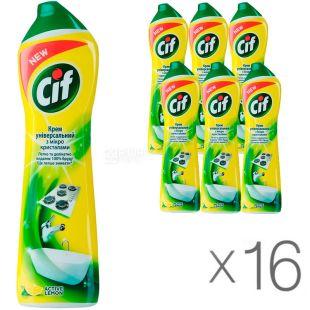 Cif Active lemon, 0,5 л, Крем чистящий Сиф, универсальный, упаковка 16 шт.
