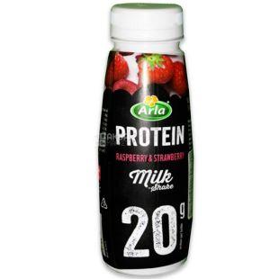 Arla, 225 мл, Арла, Напій молочний, Полуниця-Малина, із протеїном і зниженим вмістом лактози