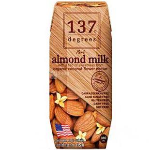 137 degrees, 180 мл, 137 дегріс, Рослинне мигдальне молоко, оригінальне, ультрапастеризоване