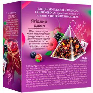 Lovare, 15 pyramids, Fruit and flower tea, Berry jam, + spoon