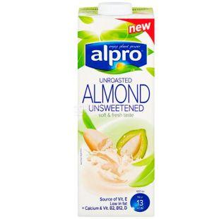 Alpro Almond Unsweetened Unroasted, 1 л, Алпро, Молоко з не смаженого мигдалю, без цукру