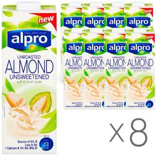 Alpro Almond unrosated unsweetened, упаковка 8 шт. по 1 л, Алпро, Молоко з не смаженого мигдалю, без цукру