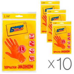 Bonus, Pack of 10 pcs., Rubber gloves, universal, size L