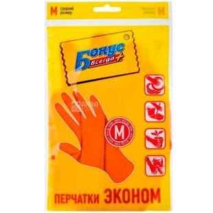 Бонус, Перчатки резиновые, универсальные, размер M