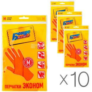 Bonus, Pack of 10 pcs., Rubber gloves, universal, size M